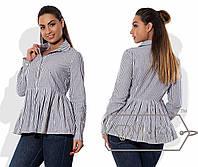 Батальная блуза с баской, в полоску, серая 6206фм
