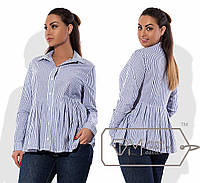 Батальная блуза с баской, в полоску, голубая 6207фм