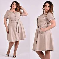 Бежевое льняное платье больших размеров 0481