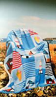 """Вязанный Плед """"Морской Берег"""" - ручной работы 117х150см"""
