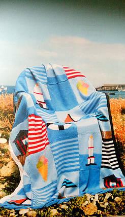 """Вязанный Плед """"Морской Берег"""" - ручной работы 117х150см, фото 2"""