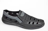 Туфли летние сандали босоножки мужские черные с серой вставкой черные модель 2016 Повседневный, 44