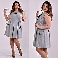 Платье для полных женщин 0484 серое 58 размер
