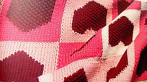 """Вязанный Плед """"Сердечки"""" - ручной работы 114х108см, фото 2"""