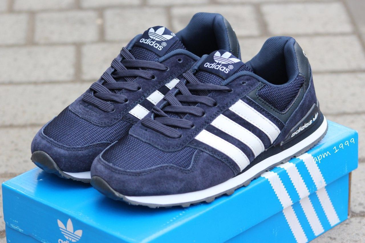 Подростковые кроссовки Адидас, Adidas темно синие с белым 38