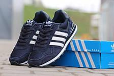Подростковые кроссовки Адидас, Adidas темно синие с белым 38, фото 2