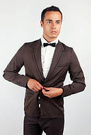 Пиджак мужской с контрастными вставками 2404/1 (Темно-коричневый)