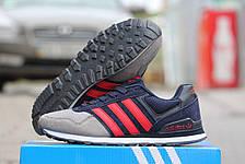 Подростковые кроссовки Адидас, Adidas серые с синим, фото 3
