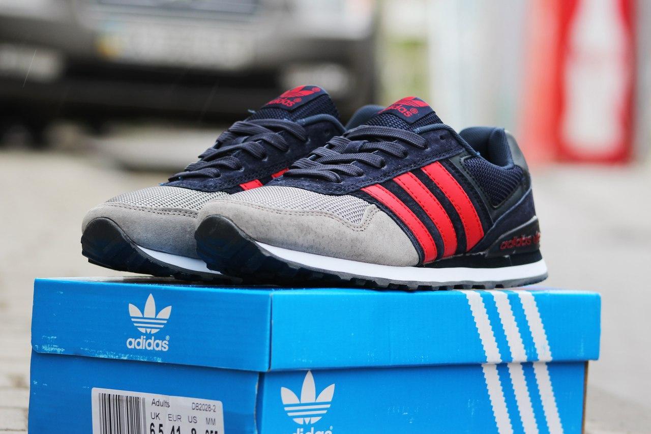 Подростковые кроссовки Адидас, Adidas серые с синим