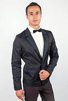 Пиджак мужской с контрастными вставками 2404/1 (Черный)