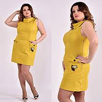 Стильное платье больших размеров 0486 горчичное 58 размер