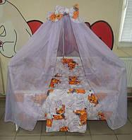 """Фирменный комплект постельного белья 9 предметов """"Мишки пара спят"""" для малышей. Сиреневый"""