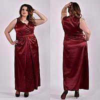 Бордовое красивое платье для полных 0488 58 размер
