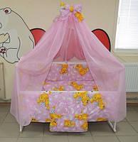 """Фирменный комплект постельного белья 9 предметов """"Мишки пара спят"""" для девочек. Лиловый"""