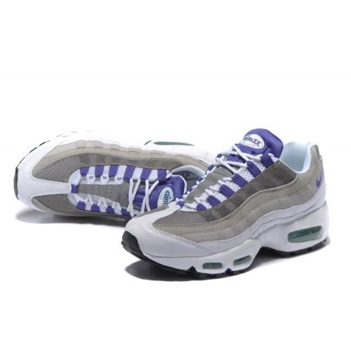 Женские кроссовки Nike Air Max 95 White/Grey/Violet топ реплика