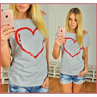Футболка женская модная Сердечко 4 цвета, магазин женской одежды