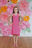 Летнее подростковое платье  из вискозы,малиновое в горох
