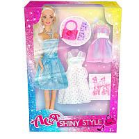 """Кукла Ася шарнирная """"Блестящий стиль"""", 28 см, брюнетка, вариант 1, в кор. 32*13*5см(35065)"""