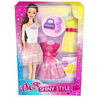 """Кукла Ася шарнирная """"Блестящий стиль"""", 28 см, брюнетка, вариант 2, в кор. 32*13*5см(35066)"""