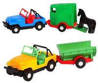 """Машина """"Авто-джип с прицепом"""", 2 вида (конярка, кузов), под слюд. 38*13см (30 шт.), ТМ Wader(39007)"""