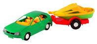 """Машина """"Авто-купе с прицепом"""", под слюд. 39*10см, (40 шт.), ТМ Wader(39002)"""