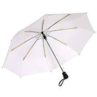 Зонт Bora складной ,  автомат, резиновая ручка , белый, от 10 шт.