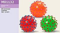 Мяч, цвет ассорти, с шипами, резиновый,15см 70г (200шт)(M01132)