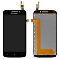 Дисплей для мобильного телефона Lenovo S650, черный, с сенсорным экран