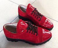 Женские туфли на низкой подошве,красные,носок лак, р.36,38,39,40