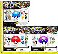 """Фигурка """"Pokemon Go"""", ловушка-шарик-7см, 8 фигурок- 5см, на планш. 33*28см (120шт)(BT-PG-0007)"""