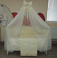 """Фирменный комплект постельного белья 9 предметов """"Сладкие сны"""" для мальчиков и девочек. Бежевый"""