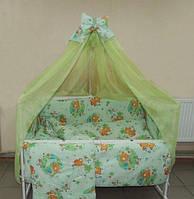 """Фирменный комплект постельного белья 9 предметов """"Мишки с пчелкой на луне"""" для мальчиков и девочек. Зеленый"""