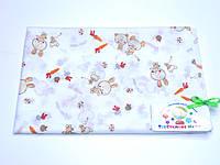 Ситцевая  пеленка (белая с зайчиками) 75*120