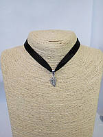 Чокер на шею с подвеской Листочек лента Колье Ожерелье Шарм Панк Ретро ХИТ!