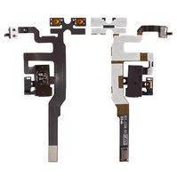 Шлейф для мобильного телефона Apple iPhone 4S, коннектора наушников, кнопок звука, черный, с компонентами