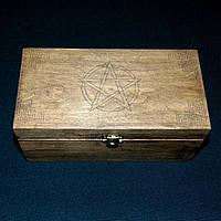Шкатулка для карт таро Пентаграмма Шкатулка  с магическими символами большая 210х110 мм