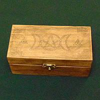 Шкатулка для карт таро прямоугольная  Шкатулка  с магическими символами 160х80 мм
