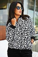 Женский спортивный костюм велюровый большого размера черно-белый