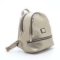 Стильная женский кожаный рюкзак Love Moschino золотистый