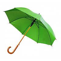 Зонт-трость полуавтомат, с деревянной изогнутой ручкой, зелёный, от 10 шт.