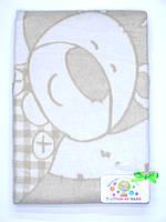 Хлопковое одеяло в роддом (бежевое с мишкой и собачкой)