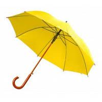 Зонт-трость полуавтомат, с деревянной изогнутой ручкой, желтый, от 10 шт.