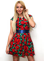 """Платье женское с цветочным принтом и  поясом """"Роза"""" темно синий арт.410, фото 1"""