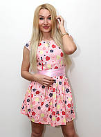 """Платье женское с цветочным принтом и  поясом """"Ромашка"""" темно синий арт.410, фото 1"""
