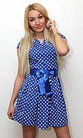 Платье женское в горошек с поясом темно синий арт.407, фото 1