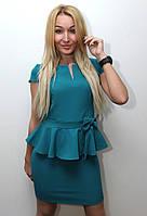 Платье женское модное однотонное бирюзовое арт.143, фото 1