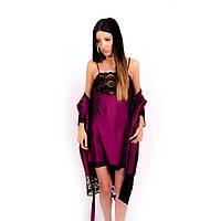 Женская ночная сорочка из шелка сливового цвета