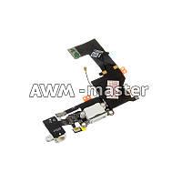Шлейф Apple iPhone 5S на разъем зарядки, разъем наушников с микрофоном. белый Оригинал