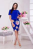 Женский Костюм юбка в цветочный принт футболка однотонная