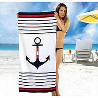 Полотенце пляжное махра-велюр 75х150 Морское